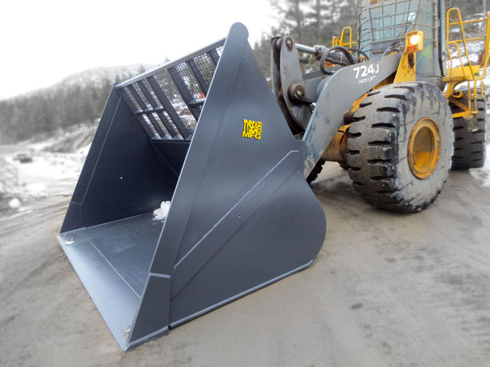 Wheel loader chip buckets.  High capacity, heavy duty wheel loader attachment that allows for high visibily with screens as well as high capacity loads.