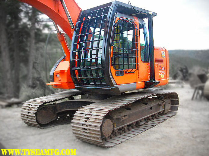 Excavator FOPS, ROPS or guarding.   Protecting the excavator operator form rollovers, falling objects and more.