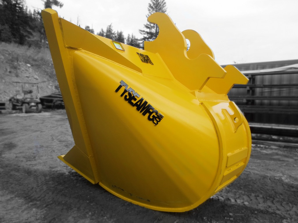 Two heavy duty excavator v-buckets.  Complete with replaceable bolt on teeth.  Available in custom widths, capacities and designs.
