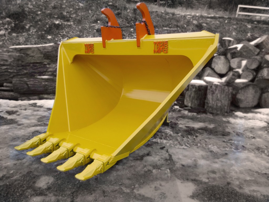 Heavy duty excavator v-bucket.  Complete with bolt on replaceable teeth.  Available in custom configurations, widths and capacities.