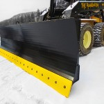 heavy duty skid steer snow blades/plows used on painted black, manufactured by Tysea mfg.