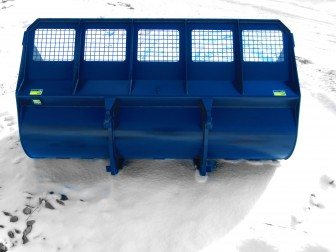 Heavy duty wheel loader snow bucket manufactured by Tysea Mfg