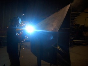 Welding a heavy duty V Bucket at Tysea Mfg