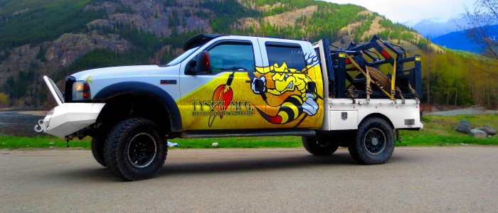 Ford F350 with Tysea mfg welding angry bee logo