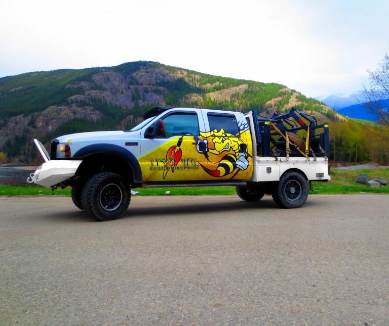 The Tysea truck, on a trip to Alberta to deliver skid steer mat grapples