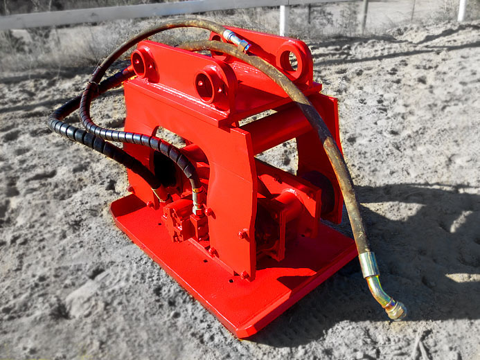 Excavator hydraulic compactor, hoe pac attachment manufactured by Tysea Mfg.
