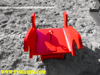Heavy duty excavator hoe pac manufactured by Tysea Mfg.  An excavator compaction plate attachment.