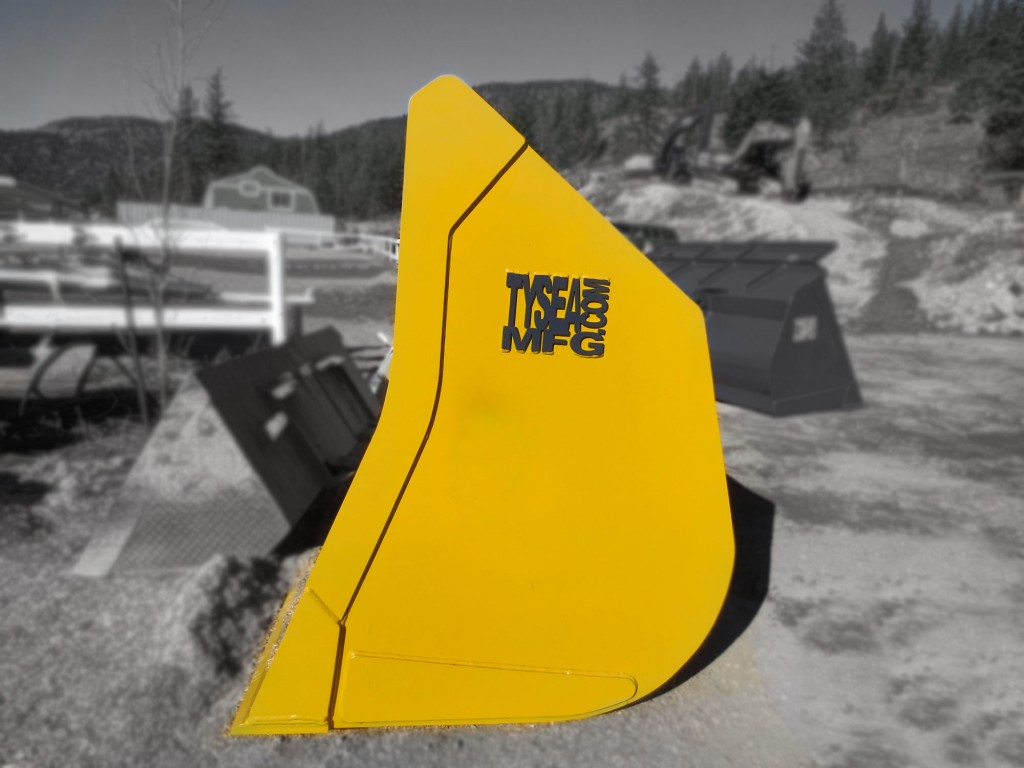 Heavy duty yellow wheel loader general purpose bucket manufactured by Tysea Mfg Inc