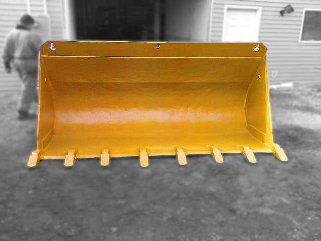 Heavy duty yellow wheel loader dig bucket manufactured by Tysea Mfg Inc.