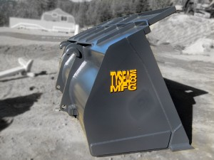 Heavy duty grey wheel loader clean up / general purpose bucket manufactured by Tysea Mfg Inc.  Pre-drilled for bolt on cutting edge.