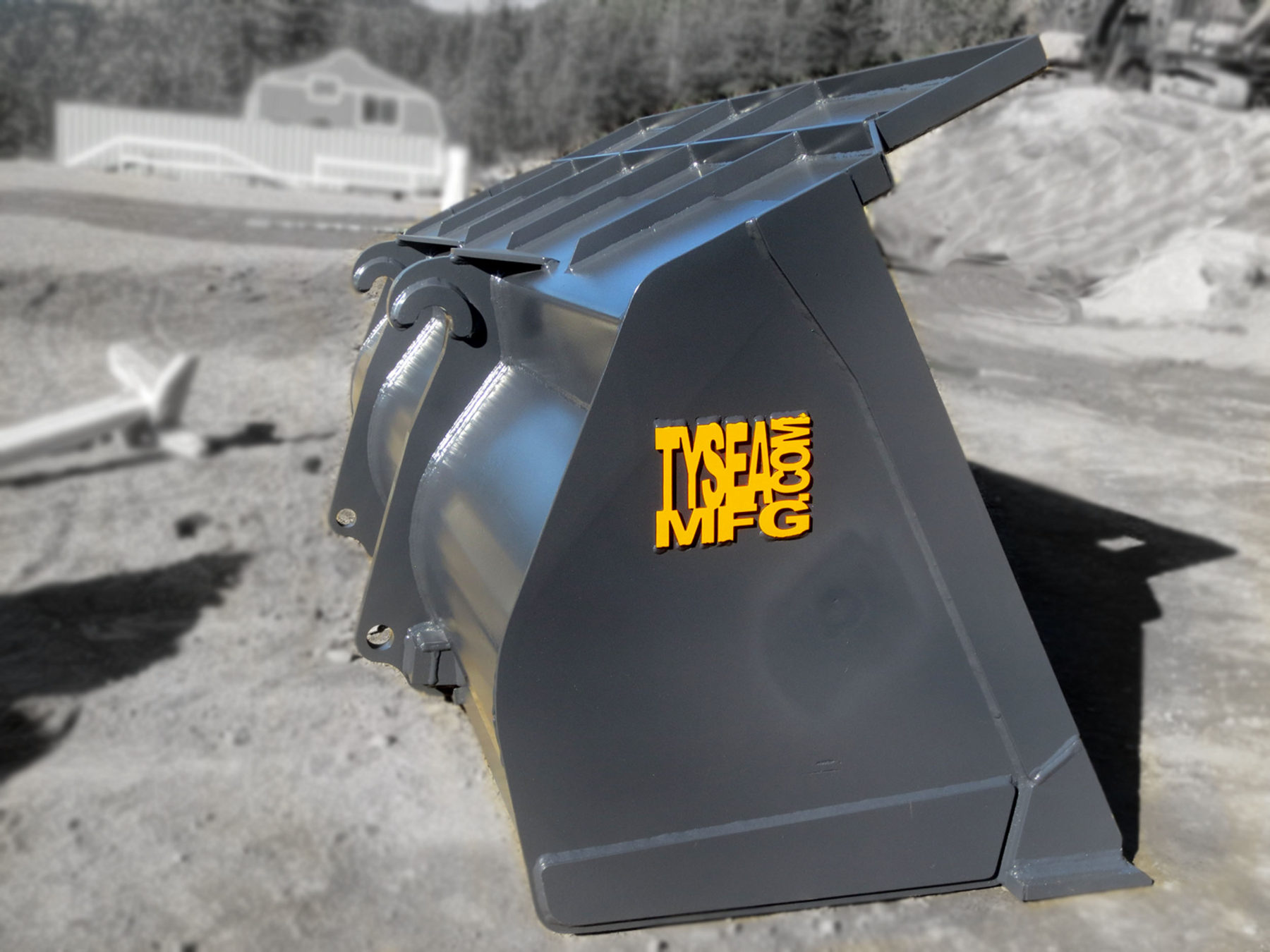 Heavy duty grey wheel loader general purpose bucket manufactured by Tysea Mfg Inc