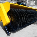 Heavy duty wheel loader brooms