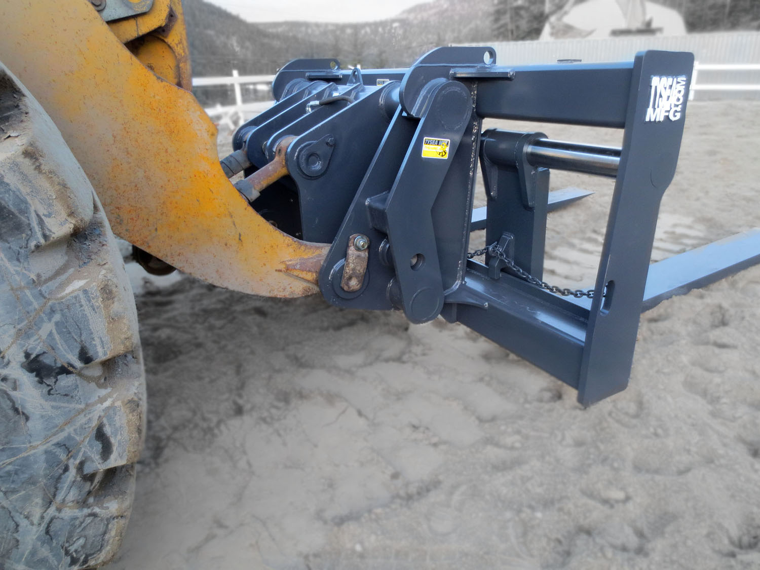 Rear view of wheel loader pallet forks that have been manufactured to customer specs by Tysea Mfg