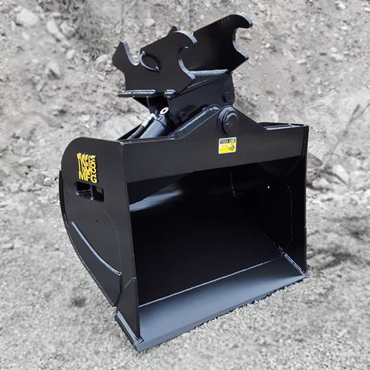 Excavator wrist bucket also known as twist o wrist bucket, manufactured by Tysea Mfg.  Painted back with yellow logos