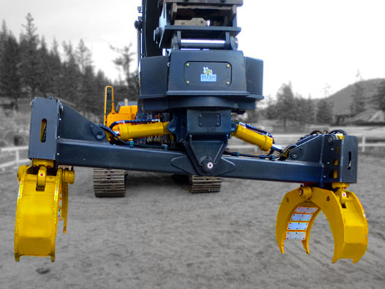 Heavy duty excavator pipe handler attachment manufactured by Tysea Mfg..  The excavator pipe and pole grapple makes handling pipe and utility poles quick and efficient.