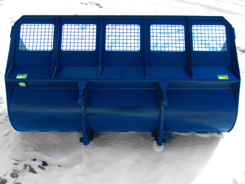 Heavy duty wheel loader chip / snow large capacity buckets.  Lightweight for increased payload capacities, and steel screen backing for increased visibility.