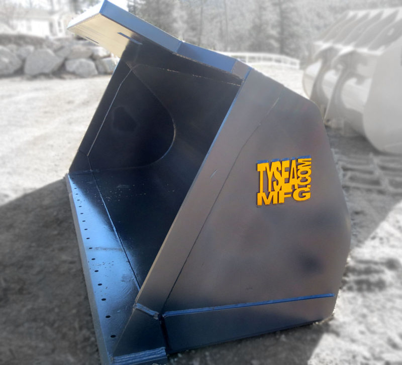 Heavy duty wheel loader general purpose bucket manufactured by Tysea Mfg Inc.  A multi purpose loader bucket used for low-impact applications and loading loose materials.