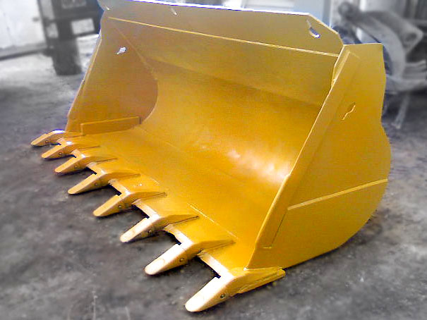 Wheel loader dig and rock bucket.  Loader bucket manufactured by Tysea Mfg.  These dozer buckets come complete with replaceable pin on teeth and more.