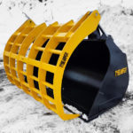 Tysea's Wheel loader corral bucket features a overarm grapple aiding in securing large bulky loads such as hay, silage and manure.