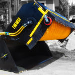 Tysea's wheel loader pickup brooms feature a hopper bucket that collects dirt and debris in addition to better containing dust.  These brooms have  many additional options such as dust control sprinklers, gutter brushes and more.