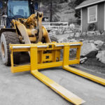 Tysea's wheel loader pallet forks are manufactured with a low profile design to increase sightlines.  These heavy duty forks feature custom carriage widths, fork lengths and more.