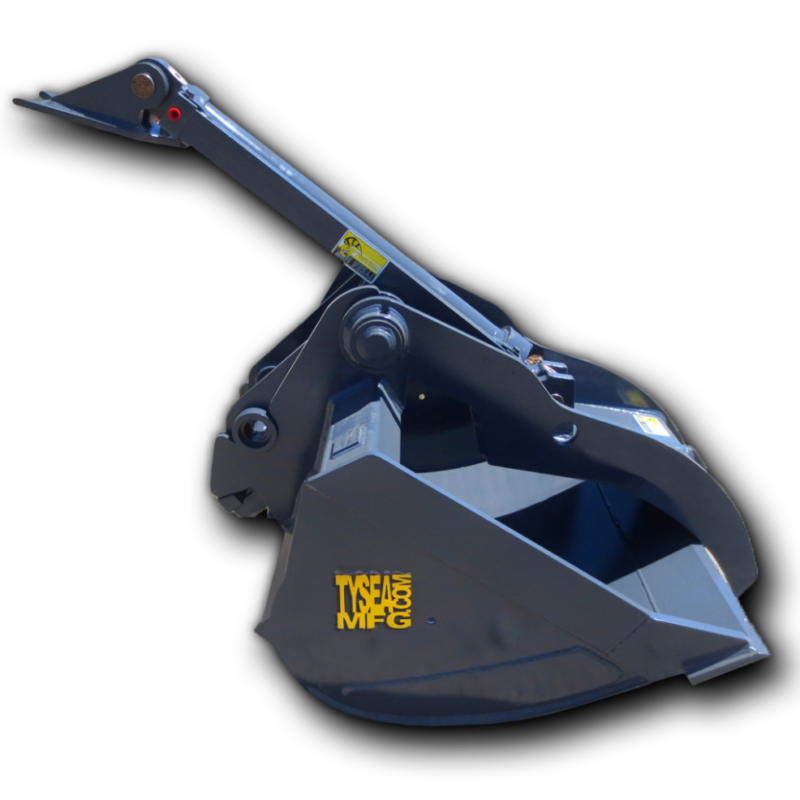 Excavator bucket package, including cleanup bucket with excavator thumb attachment