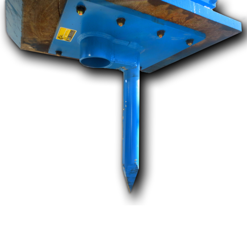 Excavator spike and cup for fencing and pounding posts