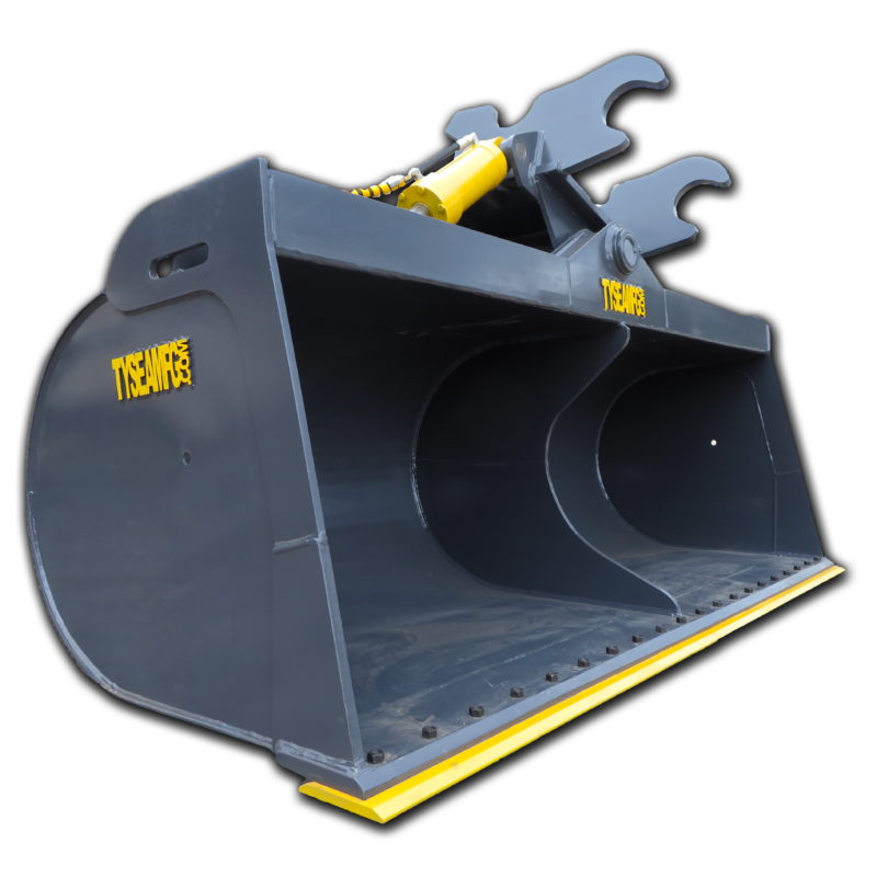 Excavator wrist buckets tilt from side to side with hydraulic cylinders