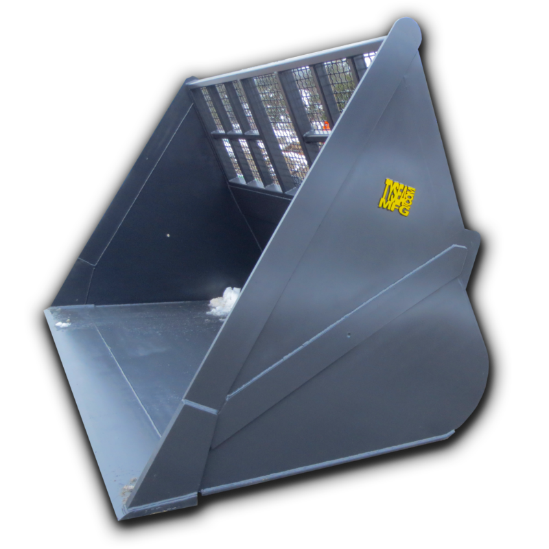 Wheel loader chip bucket for high capacity loads of lightweight materials