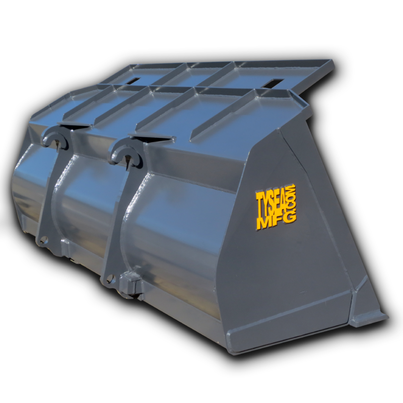 Grey wheel loader cleanup bucket for light digging and cleaning purposes