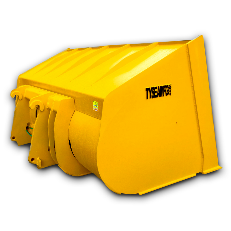 Wheel loader tip out or roll out bucket, increased load capacity and increased machine reach