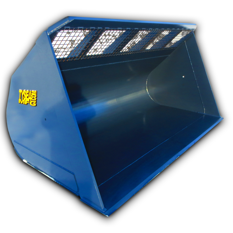 Wheel loader snow bucket with metal mesh grate for improved visibility of loads