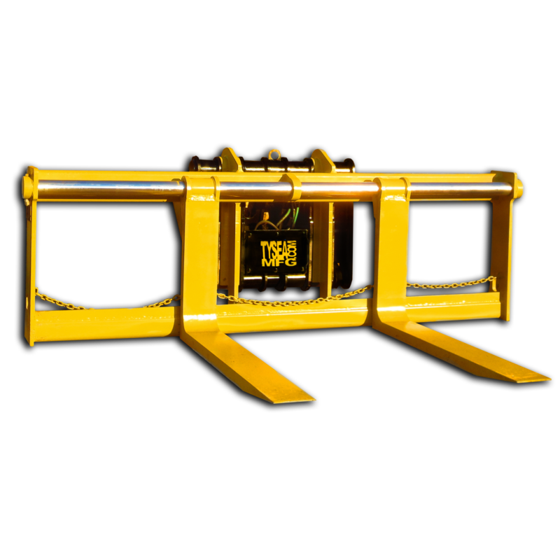 Wheel loader pallet forks with custom carriage and fork dimensions