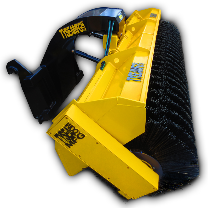 """Wheel loader hydraulic broom / sweeper with replaceable 24"""" poly con brushes"""